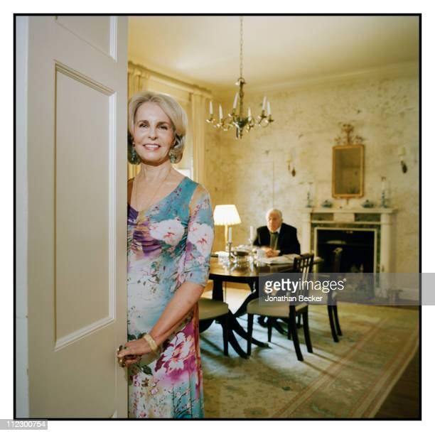 Ben Bradlee and Sally Quinn are photographed at home for Vanity Fair Magazine in Washington, DC.