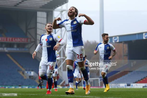 Ben Brereton of Blackburn Rovers celebrates scoring his sides first goal during the Sky Bet Championship match between Blackburn Rovers and Queens...