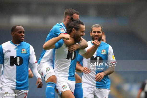Ben Brereton of Blackburn Rovers celebrates with team mates after scoring the opening goal during the Sky Bet Championship match between Blackburn...
