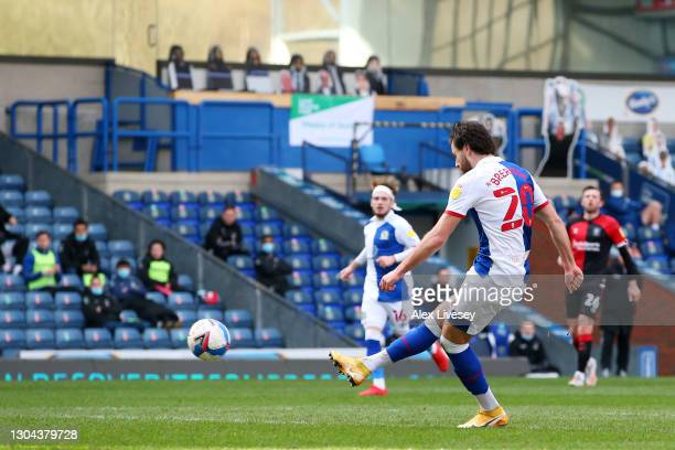 Ben Brereton of Blackburn Rovers scores his team's first goal during the Sky Bet Championship match between Blackburn Rovers and Coventry City at...