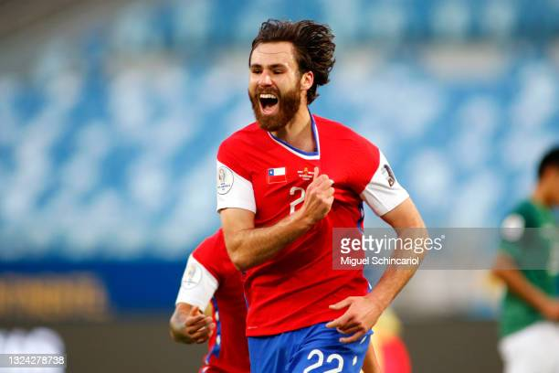 Ben Brereton of Chile celebrates after scoring the first goal of his team during a group A match between Chile and Bolivia as part of Conmebol Copa...