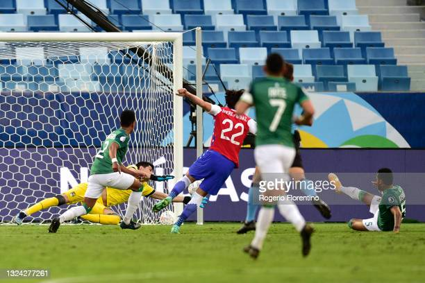 Ben Brereton of Chile scores the the first goal of his team during a group A match between Chile and Bolivia as part of Conmebol Copa America Brazil...