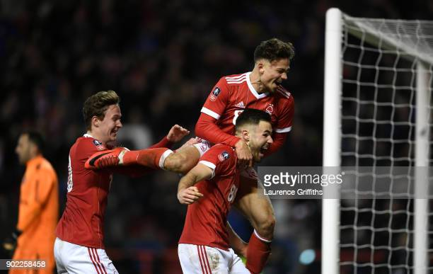 Ben Brereton of Nottingham Forest celebrates scoring his team's third goal from the penalty spot with Matthew Cash of Nottingham Forest during The...