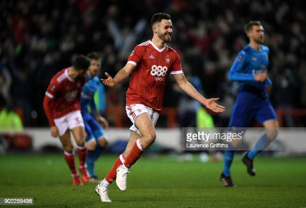 Ben Brereton of Nottingham Forest celebrates scoring his team's third goal from the penalty spot during The Emirates FA Cup Third Round match between...