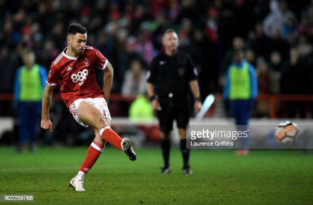Ben Brereton of Nottingham Forest scores his team's third goal from the penalty spot during The Emirates FA Cup Third Round match between Nottingham...