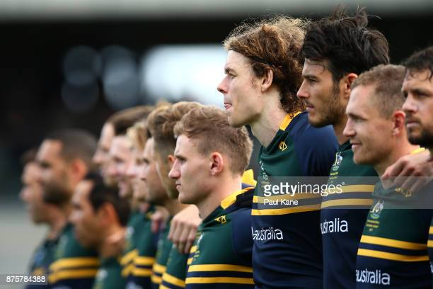 Ben Brown of Australia looks on as the national anthems are sung during game two of the International Rules Series between Australia and Ireland at...