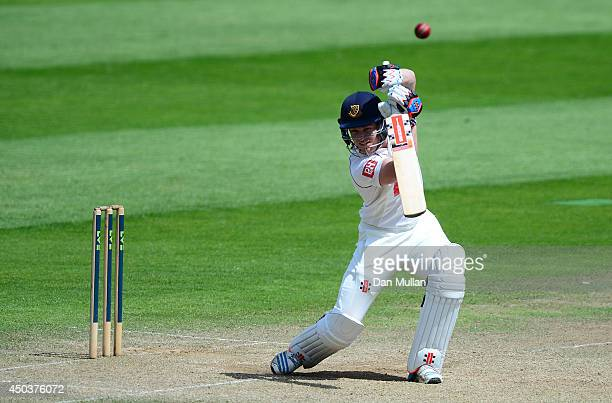 Ben Brown of Sussex bats during day three of the LV County Championship Division One match between Somerset and Sussex at The County Ground on June...