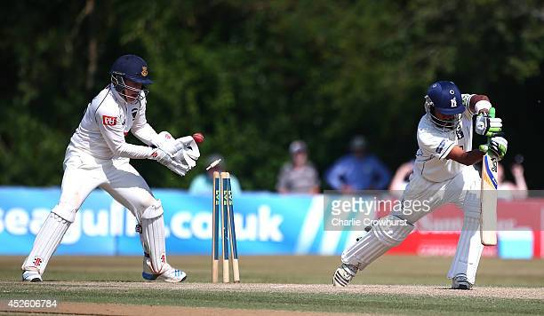 Ben Brown of Sussex celebrates after Jeetan Patel of Warwickshire is bowled out by James Tredwell of Sussex during day four of the LV County...