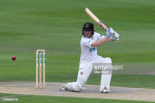 Ben Brown of Sussex hits out during the Specsavers County Championship Division Two between Sussex and Leicestershire at The 1st Central County...