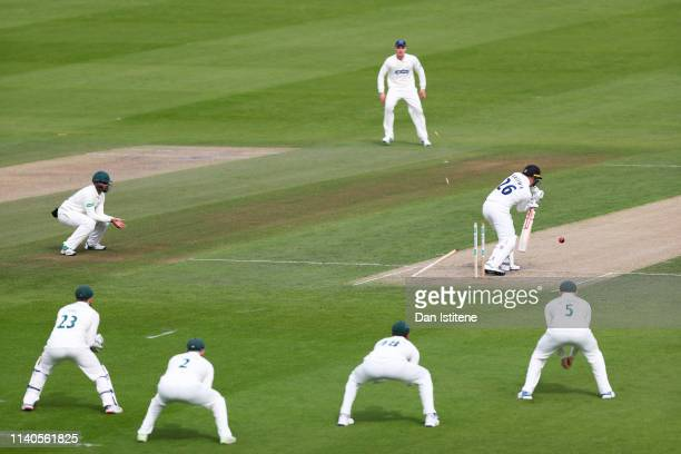 Ben Brown of Sussex is bowled by Tom Taylor of Leicestershire during the Specsavers County Championship Division Two between Sussex and...