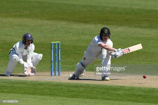 Ben Brown of Sussex plays a reverse sweepas wicketkeeper Jonathan Tattersall of Yorkshire looks on during day 2 of the LV= Insurance County...