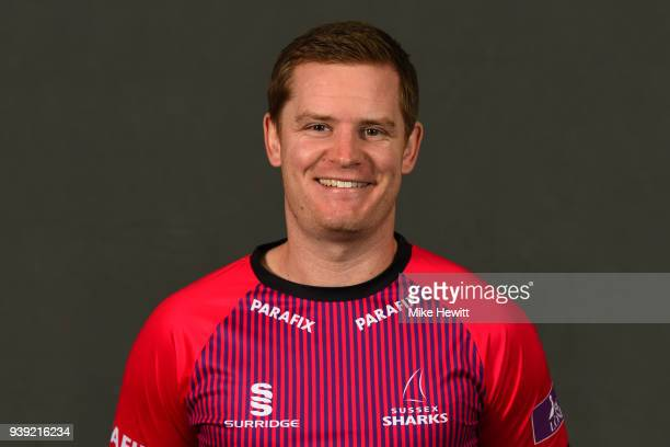 Ben Brown of Sussex poses for a portrait in the Royal London OneDay Cup kit during a Sussex CCC photocall at The 1st Central County Ground on March...