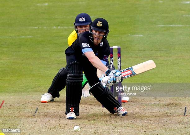 Ben Brown of Sussex Sharks hits 6 runs of the bowling of Benny Howell of Gloustershire during the NatWest t20 Blast match between Gloucestershire and...