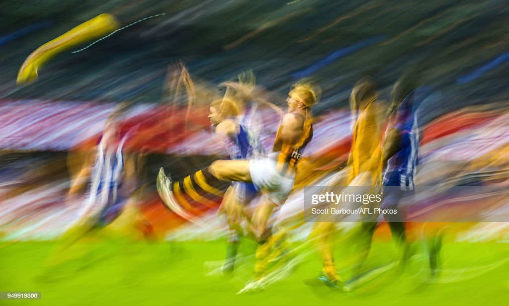 Ben Brown of the Kangaroos and Ben McEvoy of the Hawks compete for the ball during the 2018 AFL round five match between the North Melbourne Kangaroos and the Hawthorn Hawks at Etihad Stadium on April 22, 2018 in Melbourne, Australia.