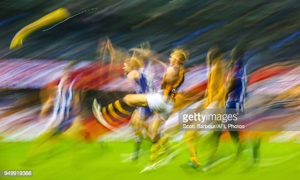 Ben Brown of the Kangaroos and Ben McEvoy of the Hawks compete for the ball during the 2018 AFL round five match between the North Melbourne...