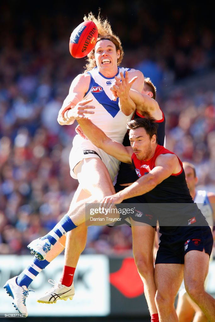 Ben Brown of the Kangaroos attempts to mark the ball during the round three AFL match between the Melbourne Demons and the North Melbourne Kangaroos at Melbourne Cricket Ground on April 7, 2018 in Melbourne, Australia.