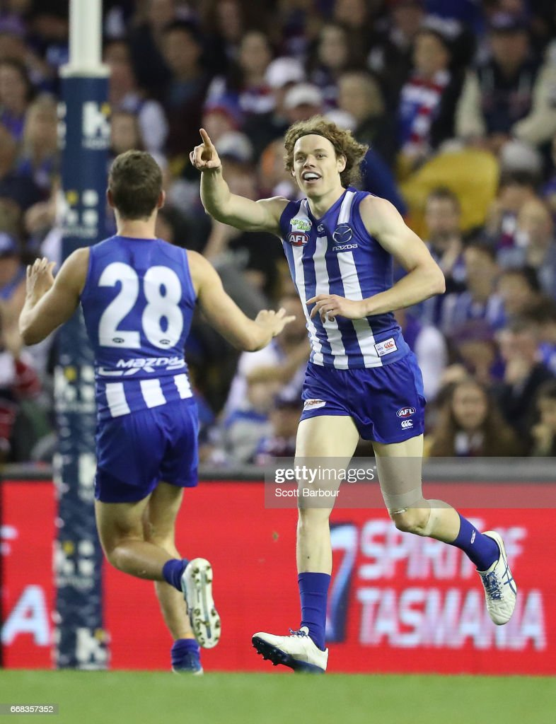 Ben Brown of the Kangaroos celebrates after kicking a goal during the round four AFL match between the North Melbourne Kangaroos and the Western Bulldogs at Etihad Stadium on April 14, 2017 in Melbourne, Australia.