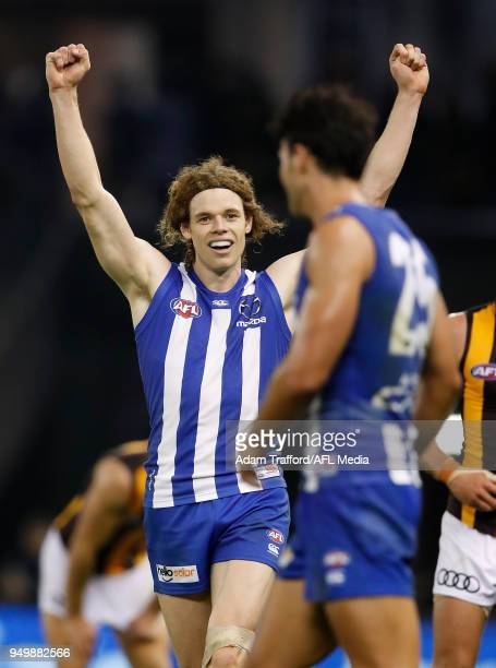 Ben Brown of the Kangaroos celebrates on the final siren during the 2018 AFL round five match between the North Melbourne Kangaroos and the Hawthorn...