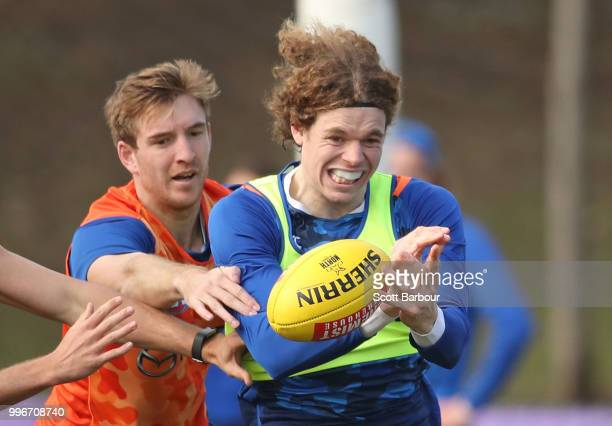 Ben Brown of the Kangaroos competes for the ball during a North Melbourne Kangaroos Training Session on July 12 2018 in Melbourne Australia