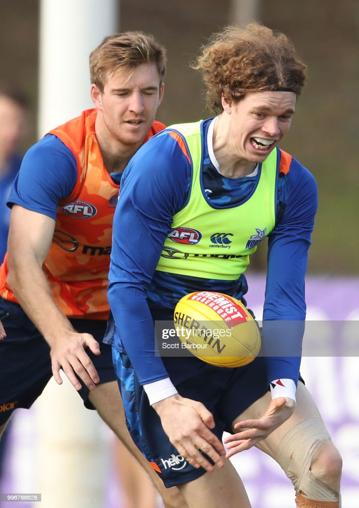Ben Brown of the Kangaroos competes for the ball during a North Melbourne Kangaroos Training Session on July 12, 2018 in Melbourne, Australia.