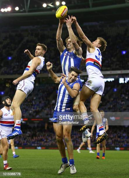 Ben Brown of the Kangaroos competes for the ball during the round 21 AFL match between the North Melbourne Kangaroos and the Western Bulldogs at...