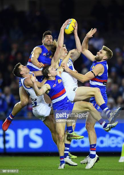 Ben Brown of the Kangaroos marks during the round 14 AFL match between the Western Bulldogs and the North Melbourne Kangaroos at Etihad Stadium on...