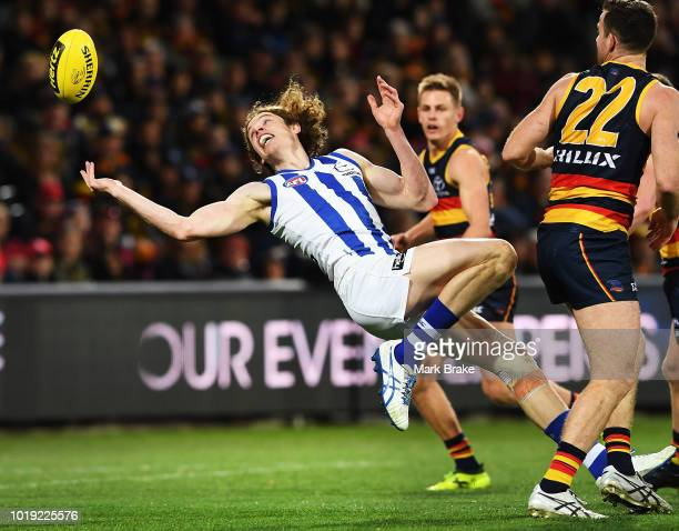 Ben Brown of the Kangaroos misses a mark during the round 22 AFL match between the Adelaide Crows and North Melbourne Kangaroos at Adelaide Oval on...
