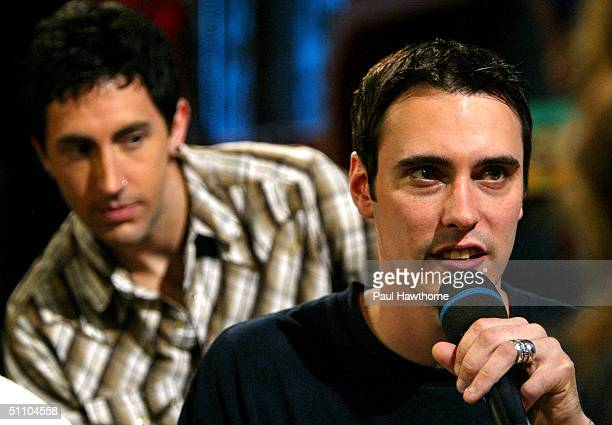 Ben Burnley and Aaron Fink of Breaking Benjamin during FUSE TV's Daily Download show July 21 2004 in New York City