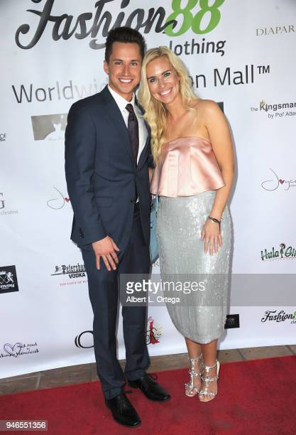 Ben Butler and Kristen Snider arrive for the Global Launch Of Fashion88 held at Pol' Atteu Haute Couture on April 14 2018 in Beverly Hills California