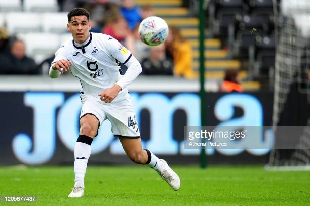 Ben Cabango of Swansea City in action during the Sky Bet Championship match between Swansea City and West Bromwich Albion at the Liberty Stadium on...