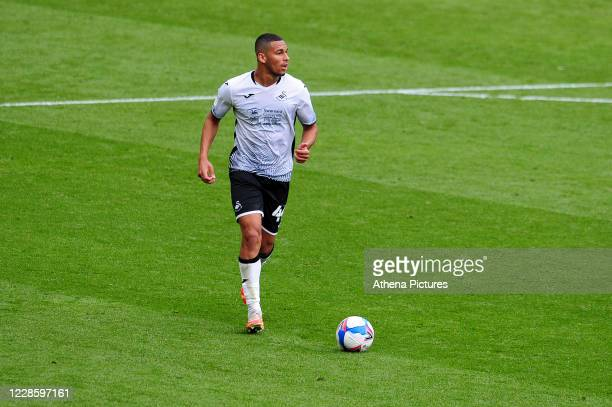 Ben Cabango of Swansea City in action during the Sky Bet Championship match between Swansea City and Birmingham City at the Liberty Stadium on...