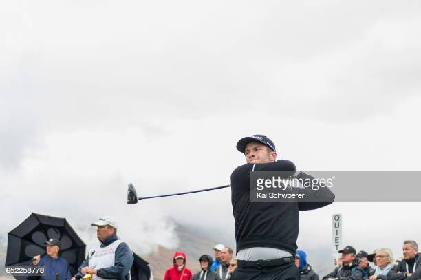 Ben Campbell of New Zealand tees off during day four of the New Zealand Open at Millbrook Resort on March 12 2017 in Queenstown New Zealand