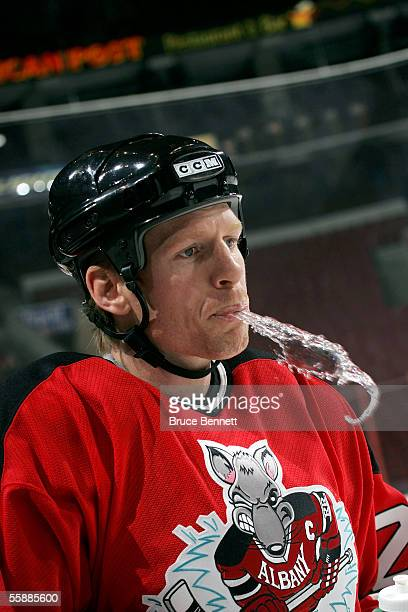 Ben Carpentier of the Albany River Rats in warmups prior to his game against the Philadelphia Phantoms on October 9 2005 at the Wachovia Center in...