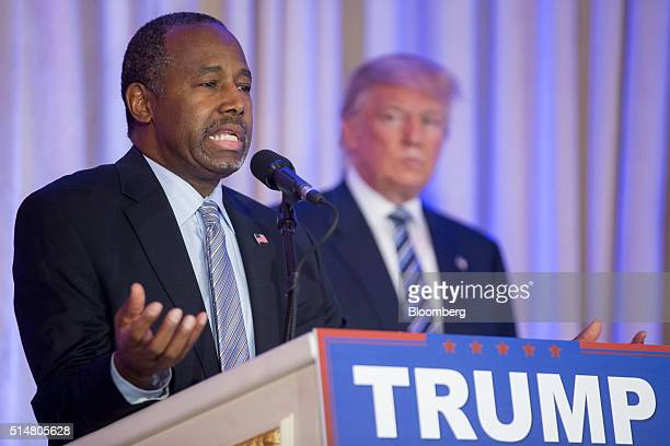 Ben Carson retired neurosurgeon and former 2016 Republican presidential candidate left speaks as Donald Trump president and chief executive of Trump...