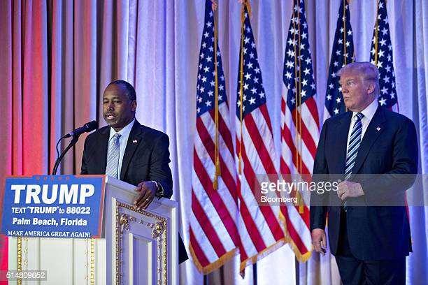 Ben Carson retired neurosurgeon and former 2016 Republican presidential candidate left speaks during a news conference with Donald Trump president...