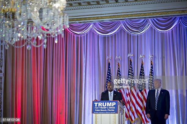 Ben Carson retired neurosurgeon and former 2016 Republican presidential candidate center speaks during a news conference with Donald Trump president...