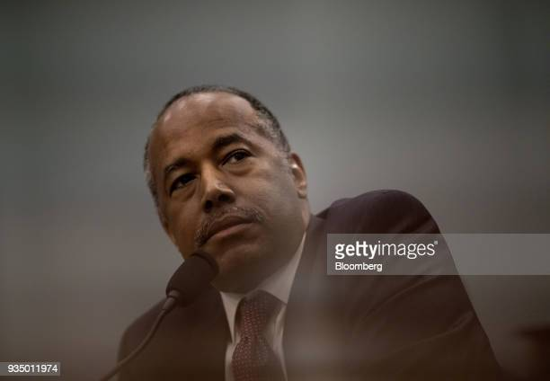 Ben Carson secretary of Housing and Urban Development listens during a House Appropriations Subcommittee hearing in Washington DC US on Tuesday March...