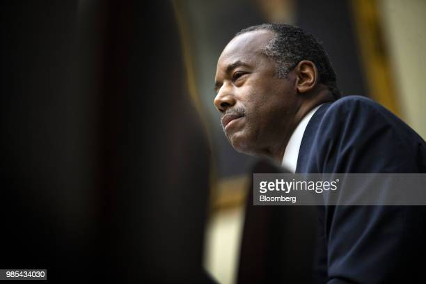 Ben Carson secretary of Housing and Urban Development listens during a House Financial Services Committee hearing on Capitol Hill in Washington DC US...