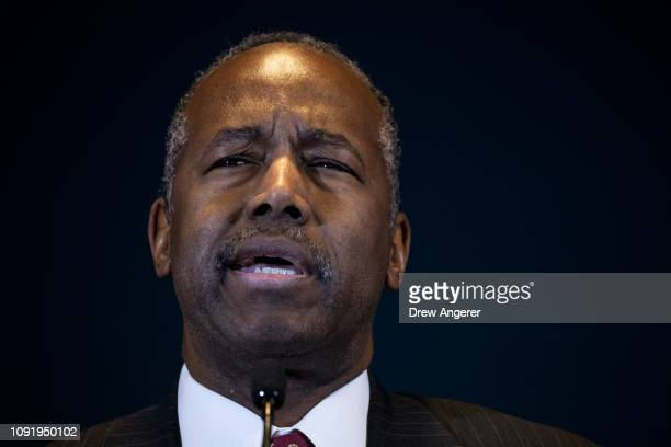 Ben Carson, Secretary of Housing and Urban Development , speaks after signing a ceremonial agreement between the federal government and the City of...