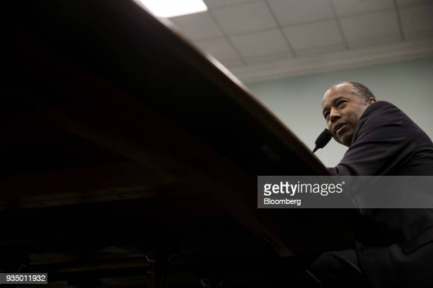 Ben Carson secretary of Housing and Urban Development speaks during a House Appropriations Subcommittee hearing in Washington DC US on Tuesday March...
