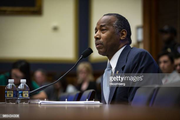 Ben Carson secretary of Housing and Urban Development testifies during a House Financial Services Committee hearing on Capitol Hill in Washington DC...