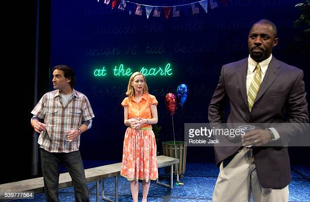 Ben Chaplin Megan Dodds and Idris Elba in the production This Is How It Goes at the Donmar Theater in London