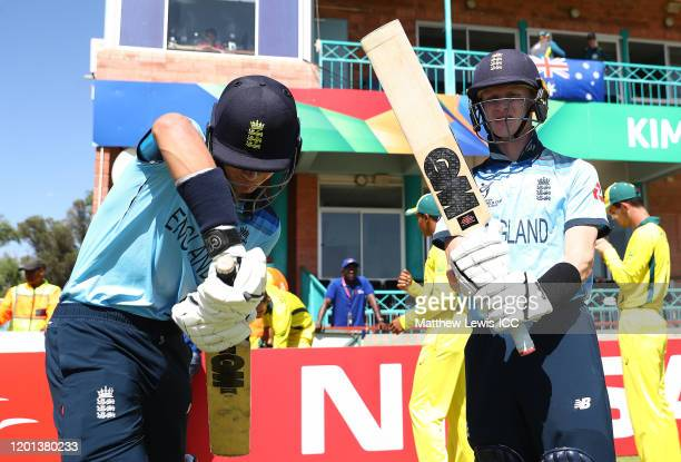 Ben Charlesworth of England and Jordan Cox of England prepare to go out and bat during the ICC U19 Cricket World Cup Group B match between Australia...