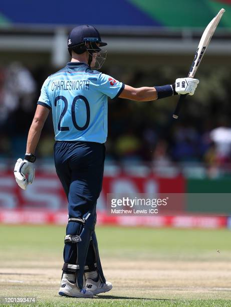 Ben Charlesworth of England celebrates his half century during the ICC U19 Cricket World Cup Group B match between Australia and England at De Beers...