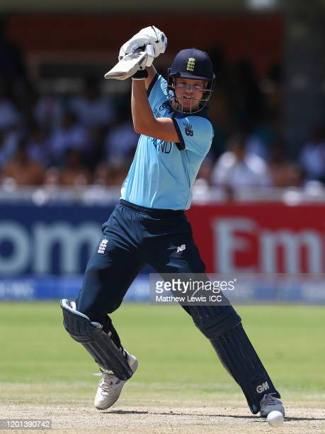 Ben Charlesworth of England hits the ball towards the boundary during the ICC U19 Cricket World Cup Group B match between Australia and England at De...