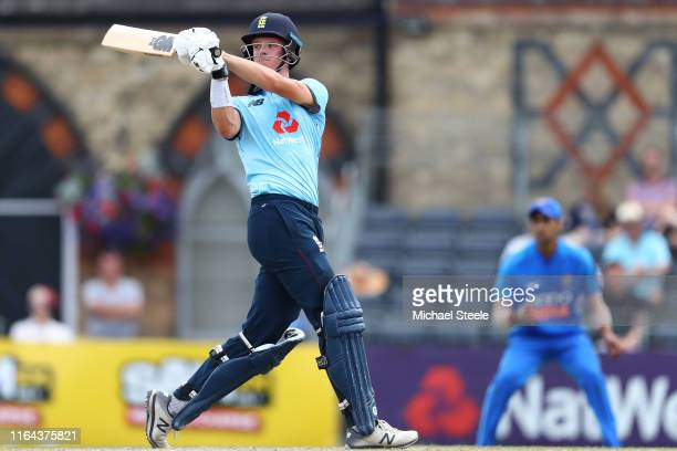Ben Charlesworth of England pulls to the legside during the Under 19 TriSeries match between England U19 and India U19 at Cheltenham College Ground...