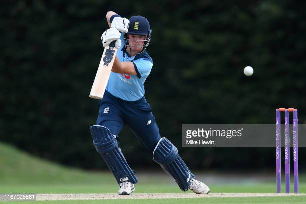 Ben Charlesworth of England U19s hits out during an Under 19 TriSeries match between England U19 and India U19 at the County Ground on August 09 2019...