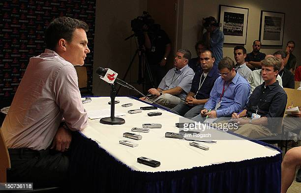 Ben Cherington general manager of the Boston Red Sox announces a trade between the Boston Red Sox and the Los Angeles Dodgers during a press...