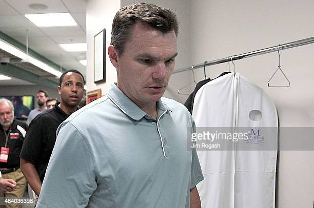 Ben Cherington general manager of the Boston Red Sox leaves the pressroom after addressing the media before a game with the Seattle Mariners at...