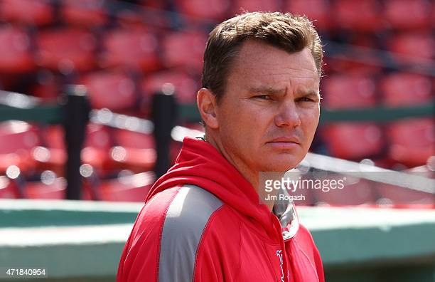 Ben Cherington general manager of the Boston Red Sox watches the pregame action before a game with New York Yankees at Fenway Park May 1 2015 in...